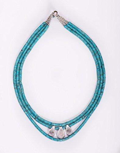 Triple Strand Kingman Turquoise and Sterling Silver Teardrop Necklace by Dansker Designs Jewelry