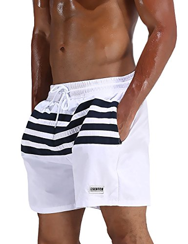 Mens Quick Dry Striped Swim Trunks With Pockets (Striped (Mens Striped Pocket)