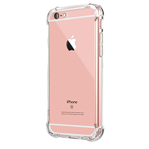 a60ad22030c Funda iPhone 6S, SHUNDA Ultra Fina Carcasa Cristal Transparente Silicona  Funda Flexible TPU Delgada y