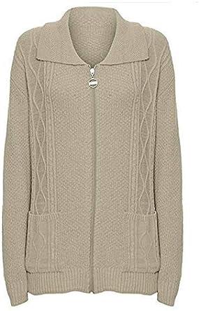 CELEB LOOK W46 Celebmodelook New Womens Zipped Cable Knit Long Sleeve Zip Up Fasten Jumper Top Ladies Classic Knitwear Zipper Cardigan in Plus Size.