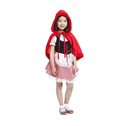 WISHTIME Halloween Girls Little Red Riding Hood Costume - Kids Clothing Accessories for Age 2 - 8 Years Old ( Size S M L ) (S)]()