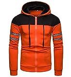 pujingge Men's Active Color Contrast Hoodies Zipper Lightweight Sweatshirts