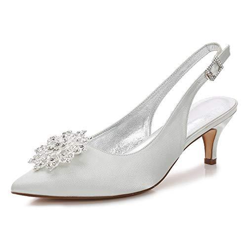 Champagne Party Heel Zxstz Glitter Wedding a Pump Scarpe Punta Basic Kitten donna Evening Strass Argento amp; scintillante da punta argento Avorio Shoes 8rFUa68qn