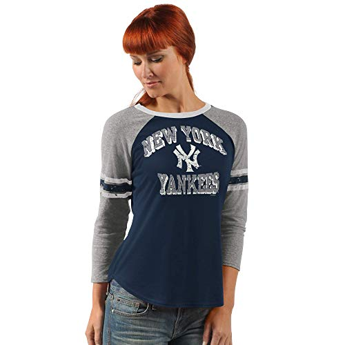 (G-III Sports New York Yankees Women's On The Field 3/4 Sleeve Raglan T-Shirt - Large)