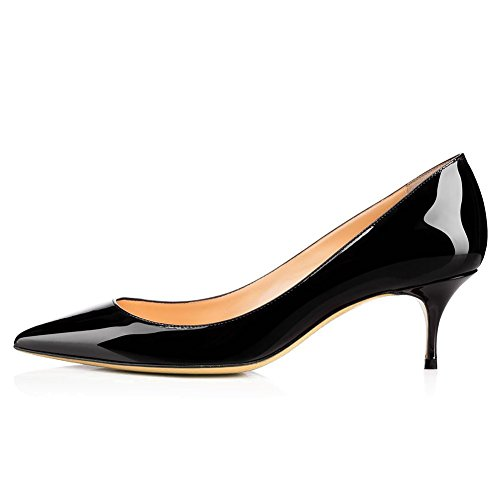 Pumps Heel for Black UMEXI Pointed Low Lady's Wedding Women Heel Fashion Dress Kitten Toe Ozq8pOwvx
