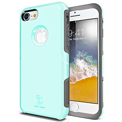 TEAM LUXURY iPhone 8 Case/iPhone 7 Case [Ultra Defender] TPU + PC [Shock Absorbent] Premium Protective Case - for Apple iPhone 7 & 8 4.7 inch (Soft Mint)