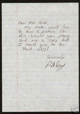 Pat Day signed handwritten letter Jockey Legend HOF