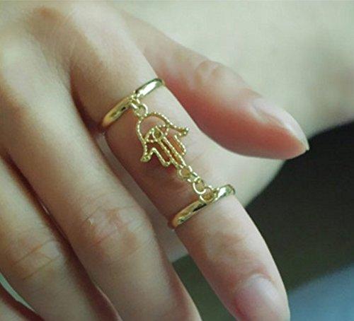 Retro anillo para dedo / Fashion Midi-Anillo / Cadena con mano de Fátima / Anillo de suerte / Chapado en oro de DesiDo®