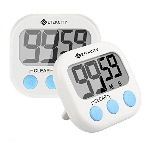 Etekcity Digital Kitchen Timer, Big Digits Loud Alarm Magnetic Backing Stand with Large LCD Display for Cooking Baking Sports Games Office (2 Pack, White, Battery Included) ()