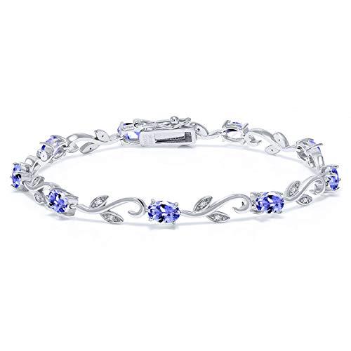 Gem Stone King 925 Sterling Silver 4.18 Ct Oval Blue Tanzanite Greek Vine Diamond 7 Inch Bracelet