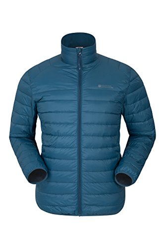 Mountain Warehouse Featherweight Down Men's Jacket - Ultra Lightweight, Pack-Away Bag, Easy To Store, Water Resistant With Insulated Down Filling Petrol Blue - Light Jacket Mountain Boys
