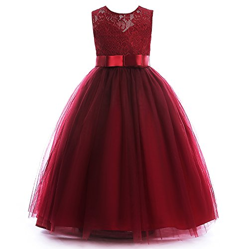 Glamulice Girls Lace Bridesmaid Dress Long A Line Wedding Pageant Dresses Tulle Party Gown Age 3-14Y (11-12Y, Wine Red) Christmas Ball Gowns