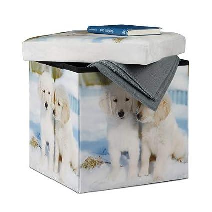 Imitation Cuir Multicolore Taille M Chiots Relaxdays 10022871/_491 Tabouret avec Rangement Motifs Pouf Cube Pliant Pliable rembourr/é Similicuir HxlxP: 38 x 38 x 38 cm