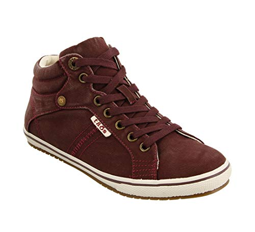 Taos Footwear Women's Top Star Bordeaux Distressed Sneaker 9 M US