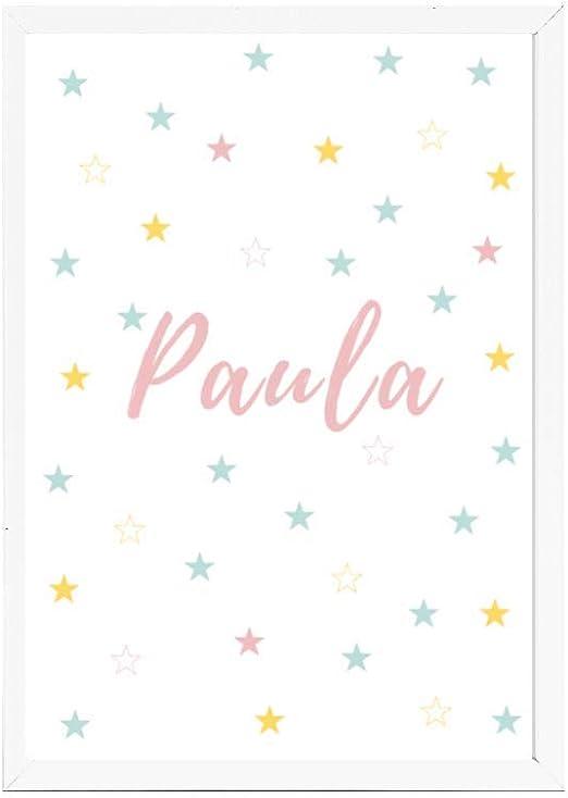 Papers rain Lámina Infantil 30x40 Personalizada con el Nombre de Paula Ideal decoración habitación, Regalo Nacimiento, Bautizo. Se envía Desde España: Amazon.es: Hogar