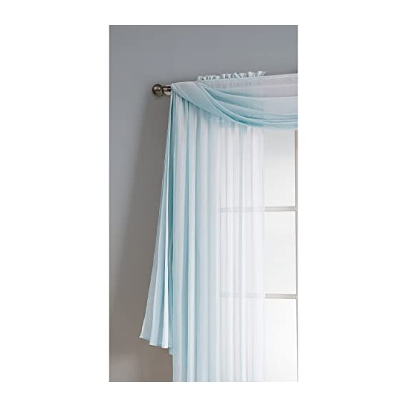 "Window Elements Diamond Sheer Voile 56 x 216 in. Curtain Scarf, Light Blue - Includes (1) unlined 56"" W x 216"" L curtain panel scarf Drape scarf over curtain rod and matching sheer curtain panels (coordinating panels and curtain rod sold separately) Very sheer fabric gently filters light - living-room-soft-furnishings, living-room, draperies-curtains-shades - 415OTWG3fTL. SS570  -"