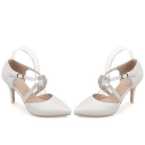 AllhqFashion Womens Metal High-Heels PU Solid Pointed Closed Toe Sandals White hewaWcf