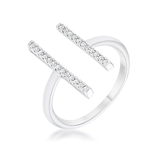 Classic | Contemporary | Simple Ring for Woman Clear Round Cubic Zirconia Pave Setting Size 10 Contemporary Ring Settings