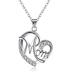 Mothers Day Gifts Necklace for Women Girls MOM Word Engraved Crystal Heart Love Pendant Necklace Mothers Day Gifts from Daughter Son