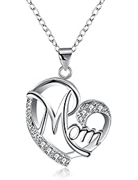 Unique Silver or Rose Gold Color Mother's Day MOM Heart-Shaped Neclace Pendant,White Small Cz Pendant Necklace for Mother Best Gift