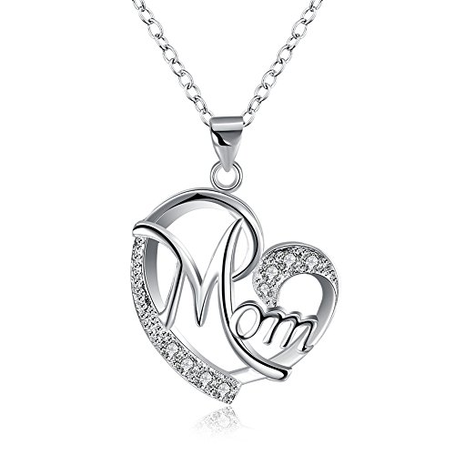 (WMAO Unique Silver or Rose Gold Color Mother's Day MOM Heart-Shaped Neclace Pendant,White Small Cz Pendant Necklace for Mother Best Gift (Silver) )