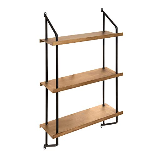 Kate and Laurel Skuza 3-Tier Modern Style Metal Wall Mounted Display Shelves, Black Frame with Gold Shelves