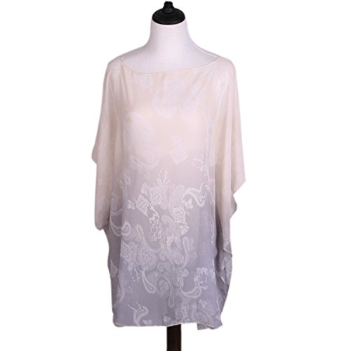 TrendsBlue Paisley Floral Ombre Chiffon Kimono Blouse Beach Cover up, Grey ()