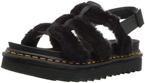 Dr. Martens Women's Yelena Fluffy Fisherman Sandal, Black, 6 Medium UK (8 US) ()