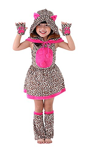 So Sydney Girls Toddler Deluxe Leopard Cheetah Cat Halloween Costume Accessories (S (3T/4T), Leopard Girl)