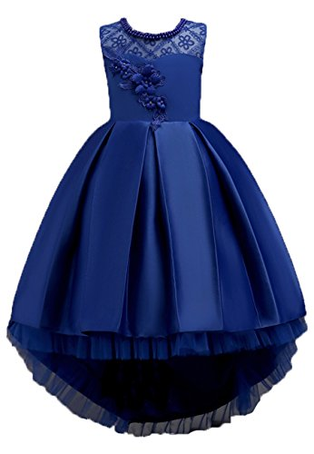 OMZIN Little Girls' Flower Formal Wedding Sequin Dress Princess Tulle Dresses Dark Blue 11-12 Years Little Lady Flower Girl Dresses