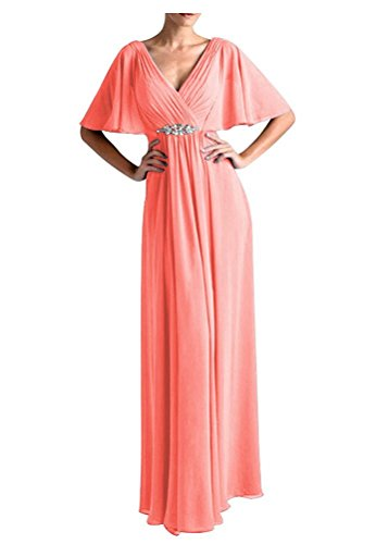 Dresses TalinaDress Coral Gowns E265LF Mother Chiffon Sleeves Long Cap The of Formal Bride gvgq8r