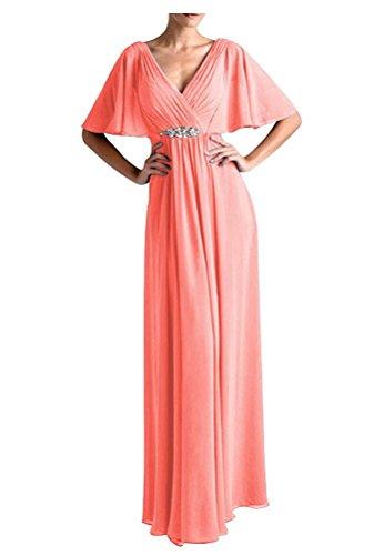 VaniaDress Women V Neck Half Sleeveles Long Evening Dress Formal Gowns V265LF Coral US12 from VaniaDress