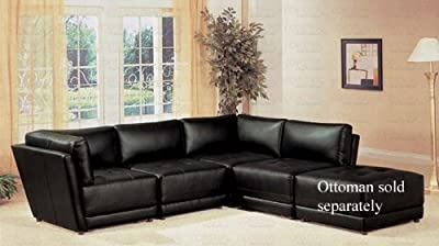 Sectional Sofa Button Tufted Design Black Bonded Leather