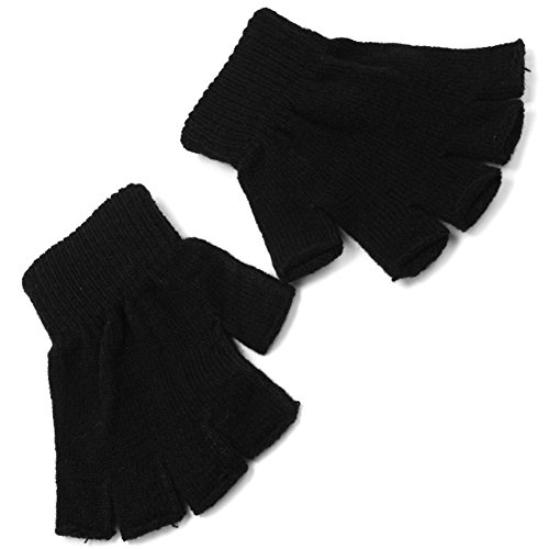 Refaxi Men Black Knitted Stretch Elastic Warm Half Finger Fingerless Gloves for Winter by ReFaXi (Image #3)