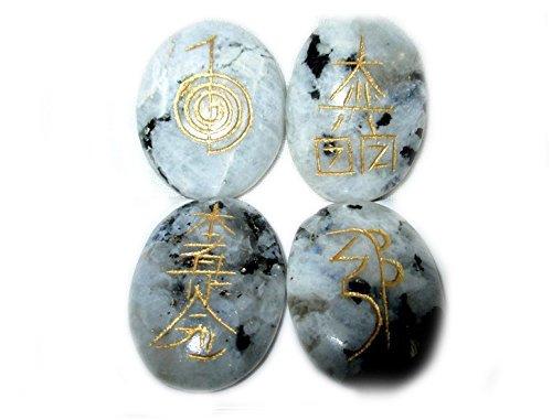 Rainbow Moonstone Oval Usui Reiki Healing Set Chakra Balancing Meditation Gemstone Spiritual Energized Positive Mental Peace Prosperity Growth Bonding by Jet International