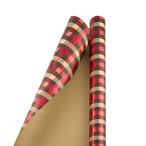 JAM PAPER Gift Wrap - Christmas Wrapping Paper - 15 Sq Ft - Holiday Plaid Foil - Roll Sold Individually