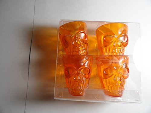 Four Pack Orange Skull Plastic Shot Glasses by Halloween ()