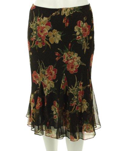 Lauren Ralph Lauren Irina FloralGeorgette Godet Skirt, Brown/Multi (Medium) (Godet Hem Skirt)