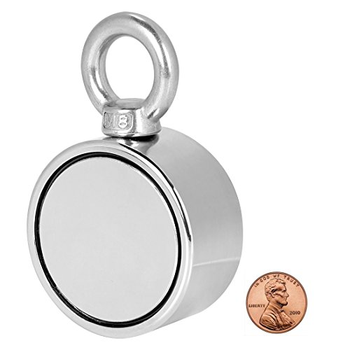(Double Sided Round Neodymium Magnet with Eyebolt, Vertical tension 500 LBS , 2.36