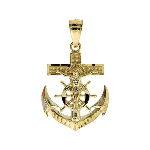 10K Yellow Gold Small 1'' (Inch) Anchor Crucifix Charm Pendant by Traxnyc