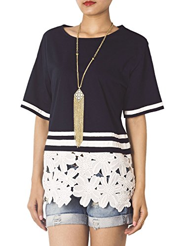 iB-iP Mujer Marina Cuerpo Blusa cintura Camisa Marina de guerra
