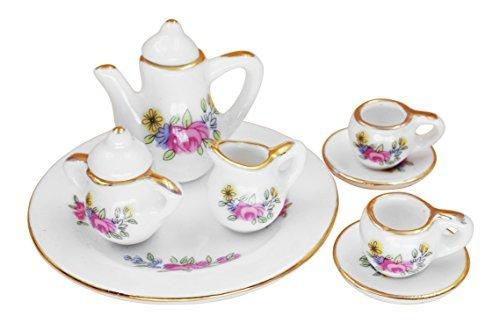 1:12 Scale 10 Pieces Dollhouse Miniature Porcelain Blue Floral Tea Set with Tray (Blue Floral) DP Porcelain Factory