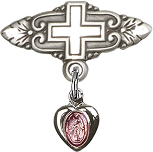 Sterling Silver Baby Badge Cross Pin with Heart Miraculous Medal with Pink Enamel Charm, 3/4 Inch