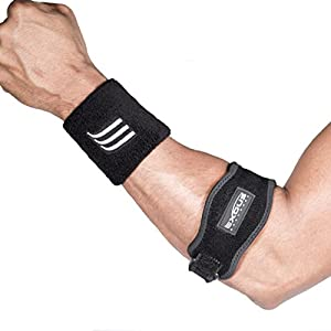 """Tennis & Golfers Elbow Brace Strap With 1/4"""" Thick Firm Support - Dual Adjustable Velcro Wrap Helps Relieve Tendonitis & Epicondylitis With Bonus Black Wrist Sweat Band 12- Month Gurantee"""