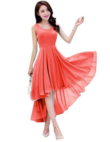 Dress A Asymmetric Holiday Party Beach Low Line Women's Coral Dasior High Summer 1qvUAgg7n