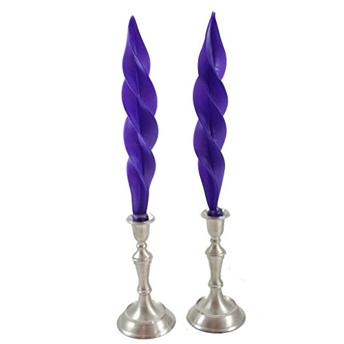Beeswax Feather Taper Candle - 12 inches - Plum Purple