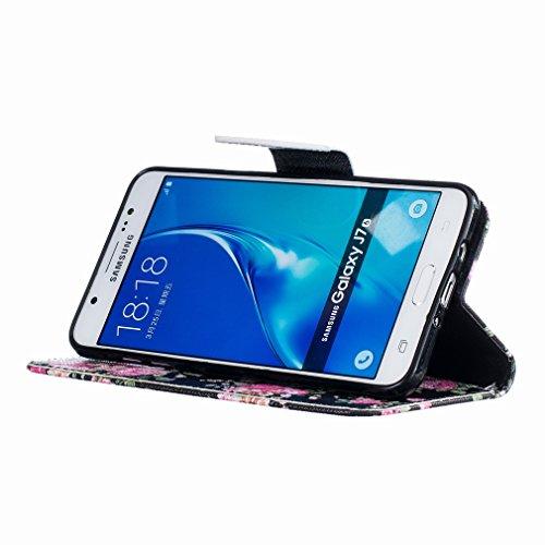 Piel Carcasa Cáscara Samsung J710 Bright Cover Billetera Diseño Funda Estilo Cuero Estuches J7 Para Pu 2016 Rose Tarjetas Ranura Protector Galaxy Yiizy xTIZvI