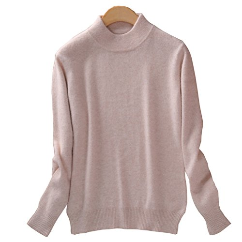 Always Pretty Women's Slim Mock Neck Wool Knit Jumper Sweater Tops Pullover Beige L ()