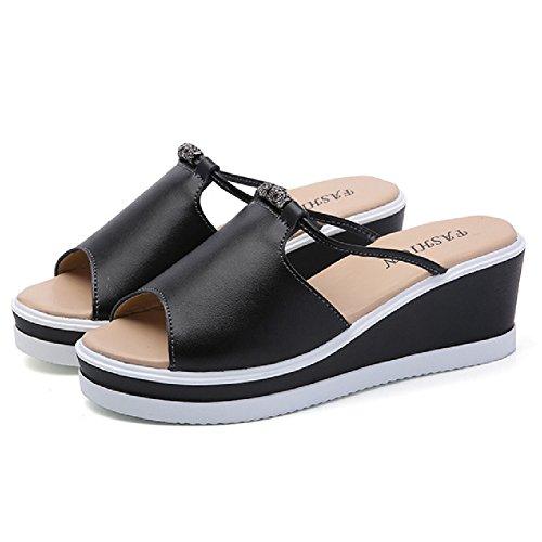 Btrada Women Summer High Platform Slides Casual Walking Wedge Sandals Black 2mUXqpH