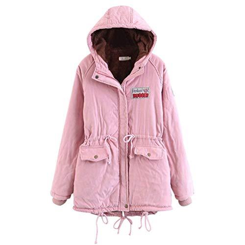 polaire Manteau rose pour taille grande et fourrure rose en de parka en d'hiver femme fausse doublée chaude Fuweiencore couleur capuche 8qa4xwdSS